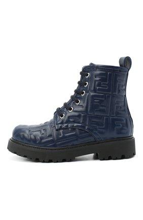 Детские кожаные ботинки FENDI темно-синего цвета, арт. JMR338/AADS/32-39 | Фото 2