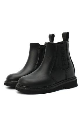 Детские кожаные ботинки FENDI черного цвета, арт. JMR343/AC7J/20-26 | Фото 1