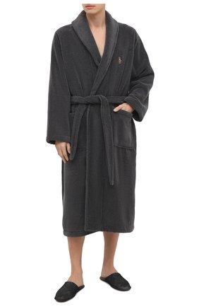 Мужской хлопковый халат POLO RALPH LAUREN серого цвета, арт. 714621695 | Фото 2