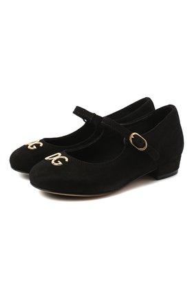 Детские замшевые туфли DOLCE & GABBANA черного цвета, арт. D10537/AC370/24-28 | Фото 1