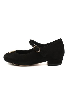 Детские замшевые туфли DOLCE & GABBANA черного цвета, арт. D10537/AC370/24-28 | Фото 2
