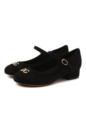 Детские замшевые туфли DOLCE & GABBANA черного цвета, арт. D10537/AC370/29-36 | Фото 1
