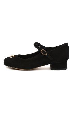 Детские замшевые туфли DOLCE & GABBANA черного цвета, арт. D10537/AC370/29-36 | Фото 2