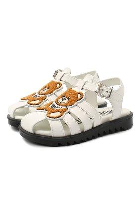 Детские кожаные босоножки MOSCHINO белого цвета, арт. 65681/GUM/18-27 | Фото 1