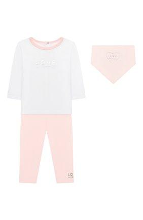 Детский комплект из трех предметов GIVENCHY светло-розового цвета, арт. H98097 | Фото 1