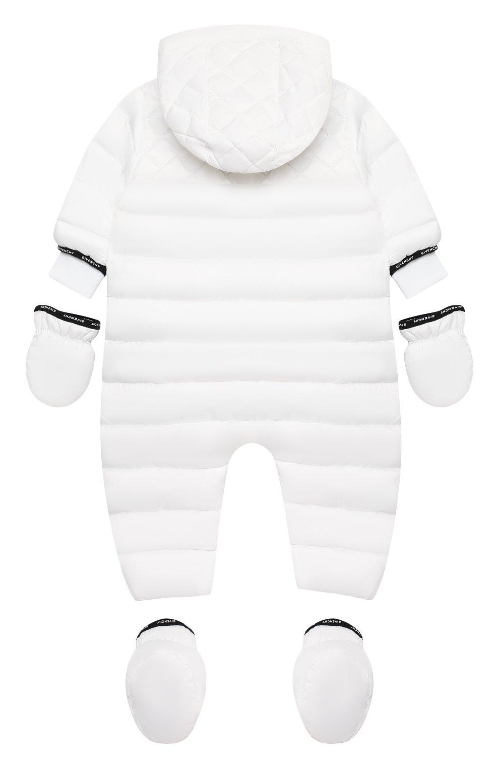Детского утепленный комбинезон с варежками и пинетками GIVENCHY белого цвета, арт. H96017   Фото 2
