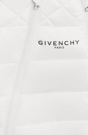 Детского утепленный комбинезон с варежками и пинетками GIVENCHY белого цвета, арт. H96017   Фото 3