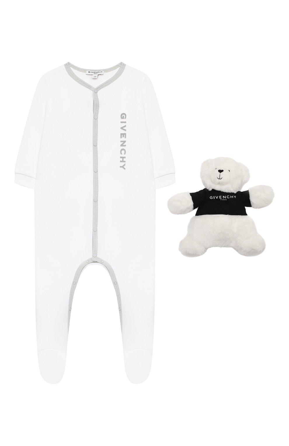 Детский комбинезон с игрушкой GIVENCHY белого цвета, арт. H9K029 | Фото 1