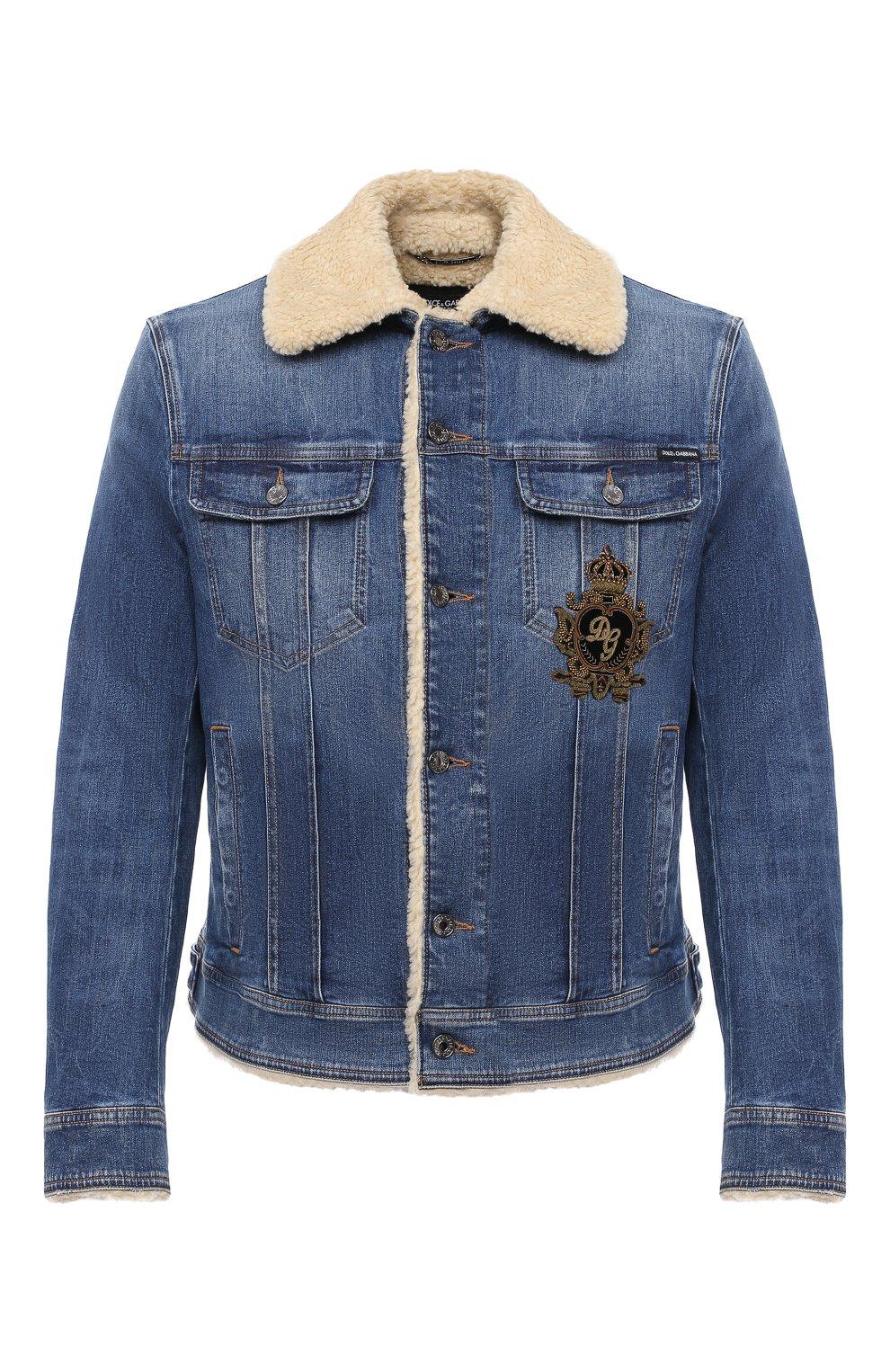 Мужская джинсовая куртка DOLCE & GABBANA темно-синего цвета, арт. G9JB5Z/G8CR9 | Фото 1