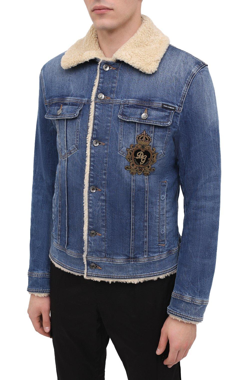 Мужская джинсовая куртка DOLCE & GABBANA темно-синего цвета, арт. G9JB5Z/G8CR9 | Фото 3