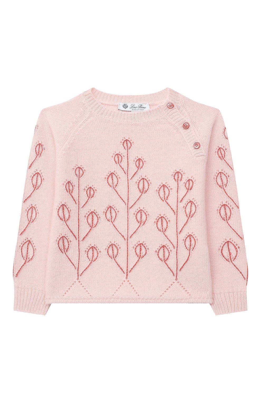 Детский кашемировый пуловер LORO PIANA розового цвета, арт. FAL3405   Фото 1