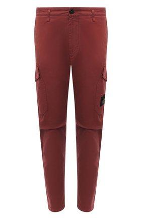 Мужской хлопковые брюки-карго STONE ISLAND бордового цвета, арт. 731531310 | Фото 1