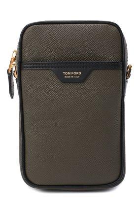 Мужская кожаная сумка TOM FORD хаки цвета, арт. H0446T-LCL080 | Фото 1