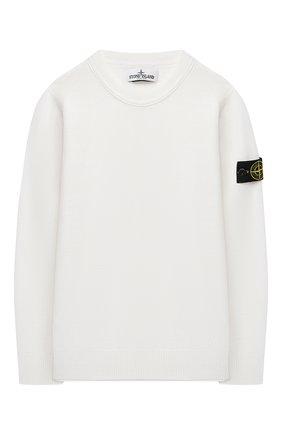 Детский шерстяной пуловер STONE ISLAND белого цвета, арт. 7316501A4/10-12 | Фото 1