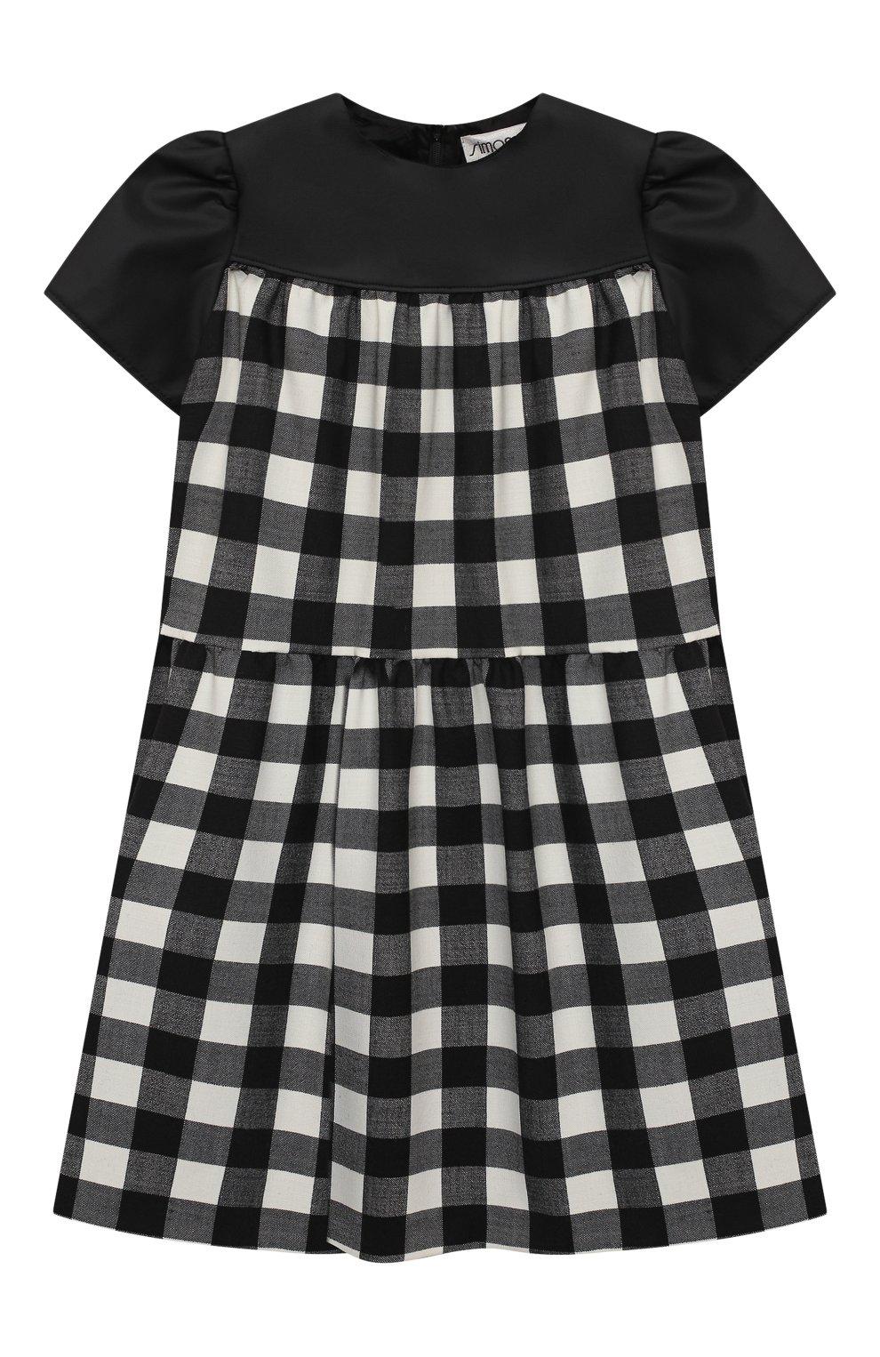 Детское платье SIMONETTA черно-белого цвета, арт. 1N1601/NE080/5-8 | Фото 1 (Материал внешний: Шерсть, Синтетический материал; Рукава: Короткие; Случай: Повседневный; Материал подклада: Купро)