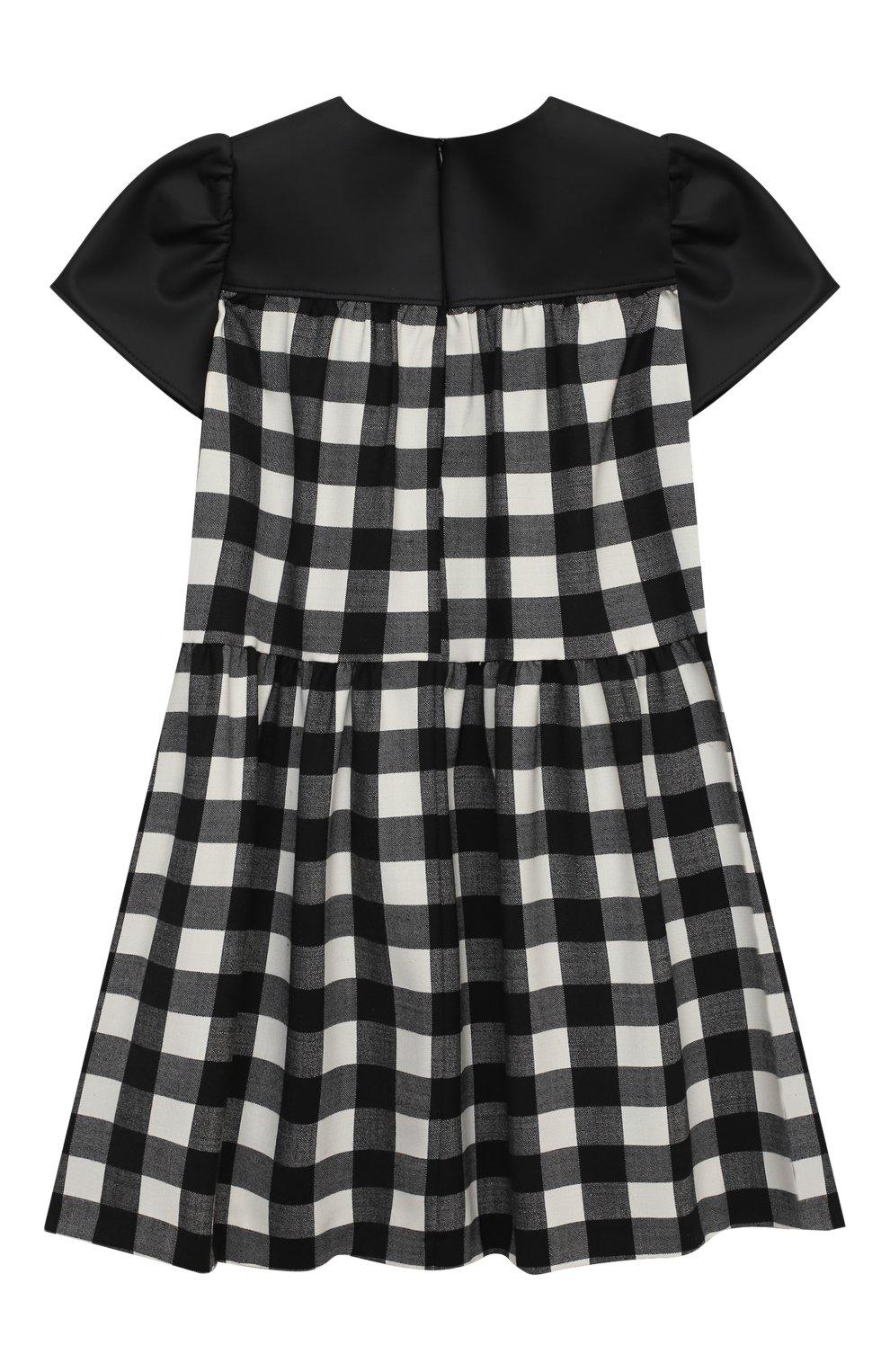 Детское платье SIMONETTA черно-белого цвета, арт. 1N1601/NE080/5-8 | Фото 2 (Материал внешний: Шерсть, Синтетический материал; Рукава: Короткие; Случай: Повседневный; Материал подклада: Купро)