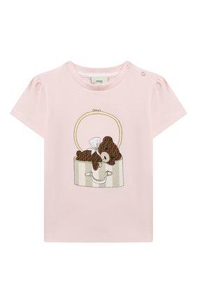 Детский хлопковая футболка FENDI розового цвета, арт. BFI116/ST8/12M-24M | Фото 1