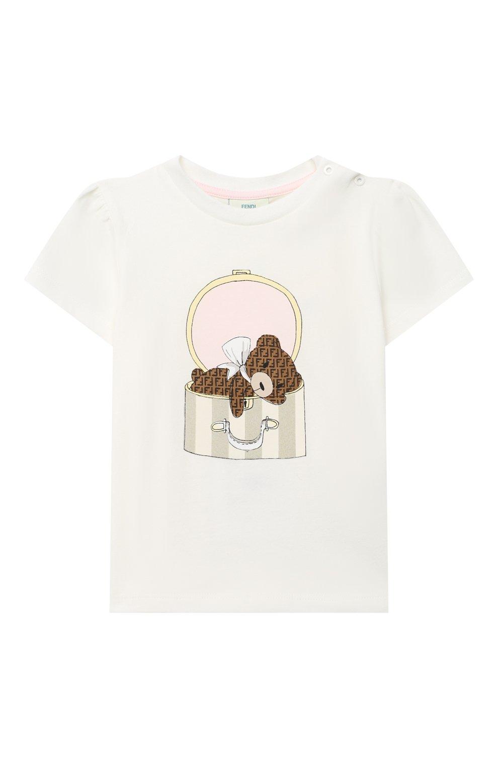 Детский хлопковая футболка FENDI белого цвета, арт. BFI116/ST8/12M-24M | Фото 1