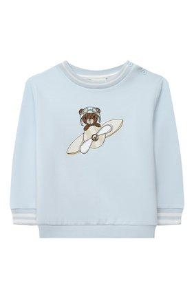Детский хлопковый свитшот FENDI голубого цвета, арт. BMH066/95N/12M-24M | Фото 1