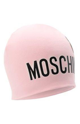 Детского хлопковая шапка MOSCHINO розового цвета, арт. HMX00Z/LDA16 | Фото 1