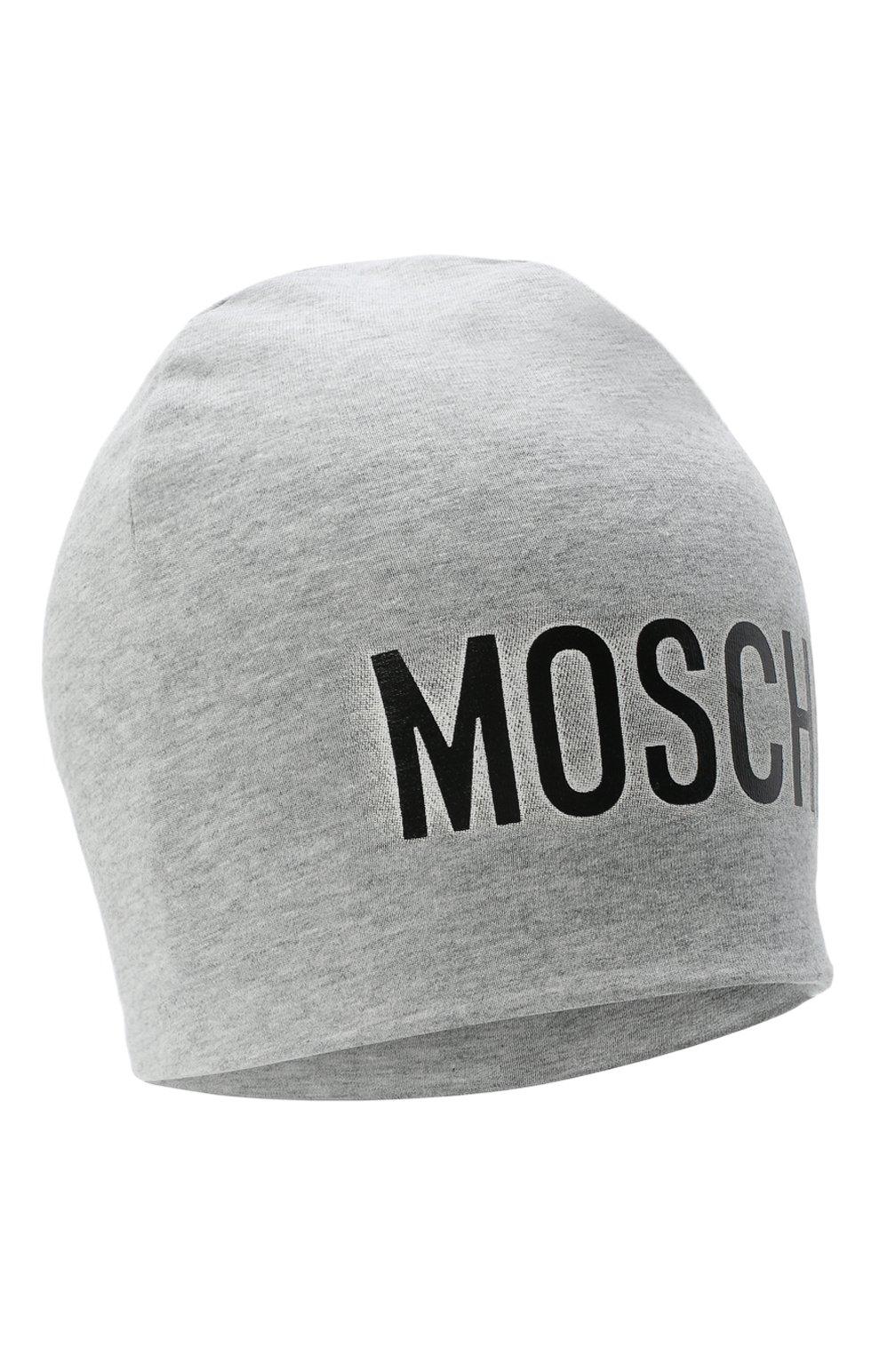 Детского хлопковая шапка MOSCHINO серого цвета, арт. HMX00Z/LDA16   Фото 1 (Материал: Текстиль, Хлопок)