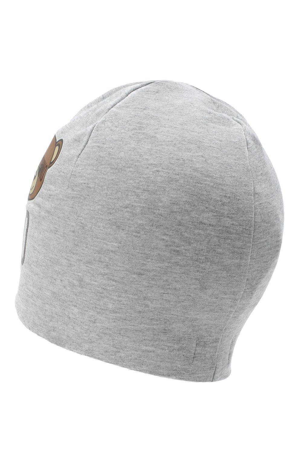 Детского хлопковая шапка MOSCHINO серого цвета, арт. HMX00Z/LDA16   Фото 2 (Материал: Текстиль, Хлопок)