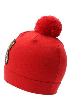 Детского хлопковая шапка MOSCHINO красного цвета, арт. HUX014/LHE03 | Фото 2
