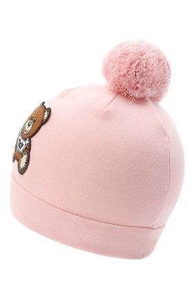 Детского хлопковая шапка MOSCHINO розового цвета, арт. HUX014/LHE03 | Фото 2
