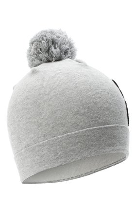 Детского хлопковая шапка MOSCHINO серого цвета, арт. HUX014/LHE03 | Фото 1