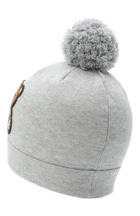 Детского хлопковая шапка MOSCHINO серого цвета, арт. HUX014/LHE03 | Фото 2