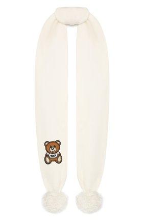 Детский хлопковый шарф MOSCHINO белого цвета, арт. HUX016/LHE03   Фото 1