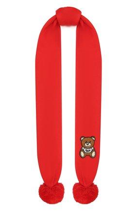 Детский хлопковый шарф MOSCHINO красного цвета, арт. HUX016/LHE03 | Фото 1