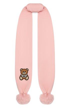 Детский хлопковый шарф MOSCHINO розового цвета, арт. HUX016/LHE03 | Фото 1