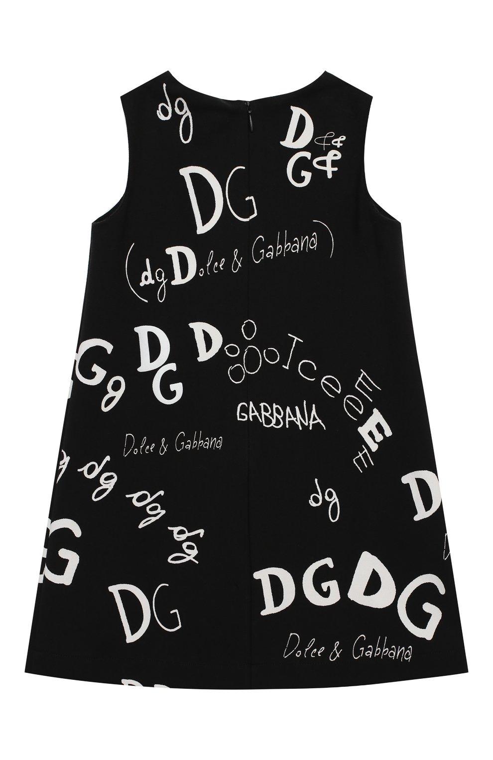 Детское хлопковое платье DOLCE & GABBANA черно-белого цвета, арт. L5JDZ2/G7XCF/2-6 | Фото 2 (Рукава: Короткие; Случай: Повседневный; Материал внешний: Хлопок; Девочки Кросс-КТ: Платье-одежда; Материал подклада: Хлопок; Ростовка одежда: 2 года | 92 см, 3 года | 98 см, 4 года | 104 см, 5 лет | 110 см, 6 лет | 116 см)
