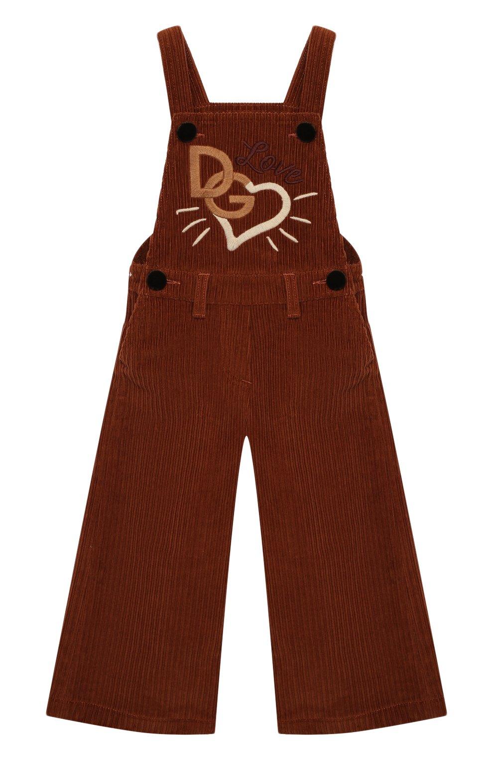 Детский хлопковый комбинезон DOLCE & GABBANA коричневого цвета, арт. L52P88/FUWDB/2-6 | Фото 1