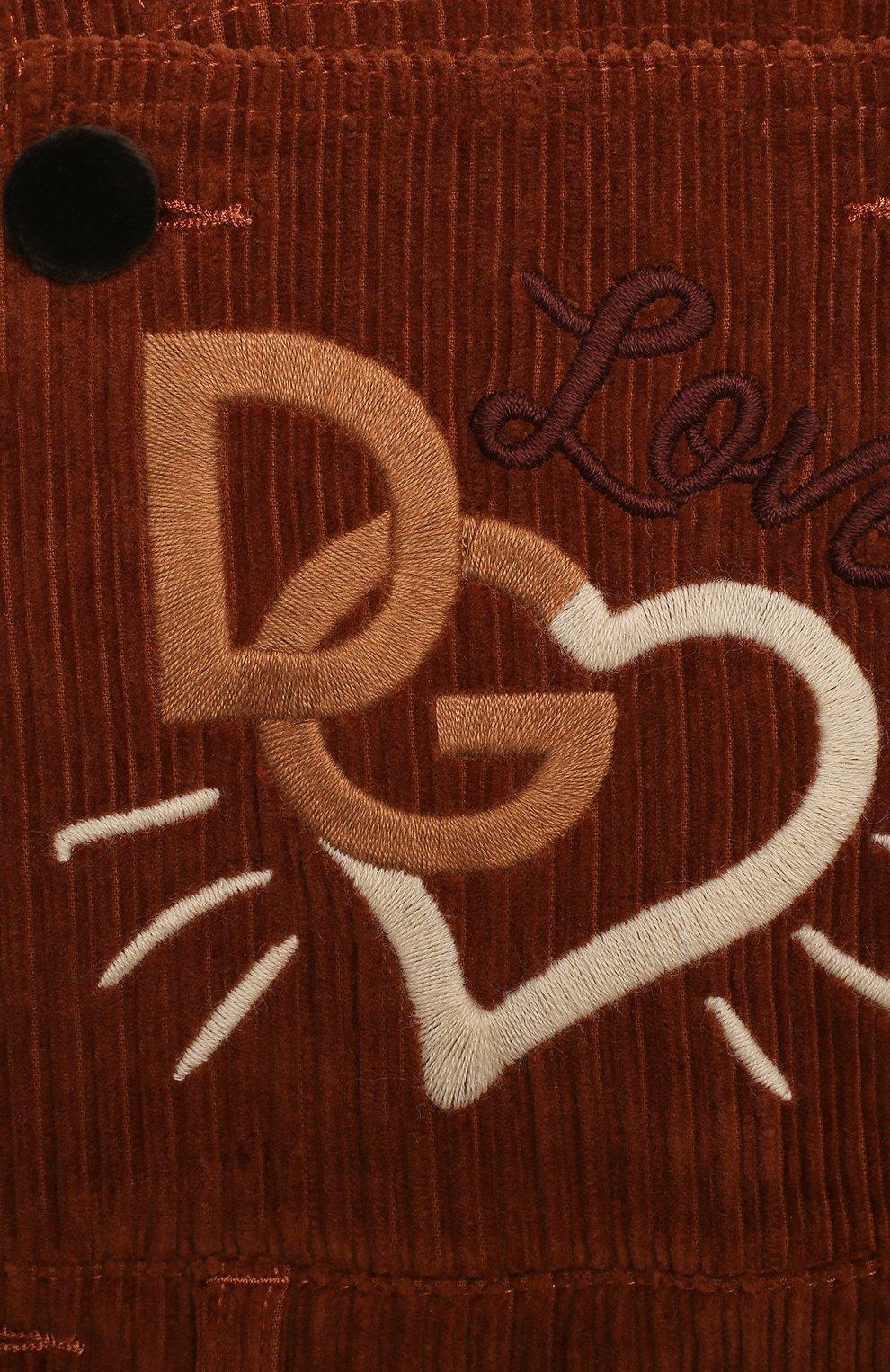 Детский хлопковый комбинезон DOLCE & GABBANA коричневого цвета, арт. L52P88/FUWDB/2-6 | Фото 3