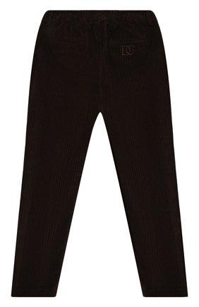 Детские хлопковые брюки DOLCE & GABBANA темно-коричневого цвета, арт. L43P32/G7XJW/8-14 | Фото 2