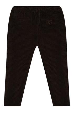 Детские хлопковые брюки DOLCE & GABBANA темно-коричневого цвета, арт. L43P32/G7XJW/2-6   Фото 2