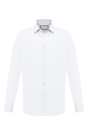 Мужская хлопковая сорочка GUCCI белого цвета, арт. 625884/Z3854 | Фото 1