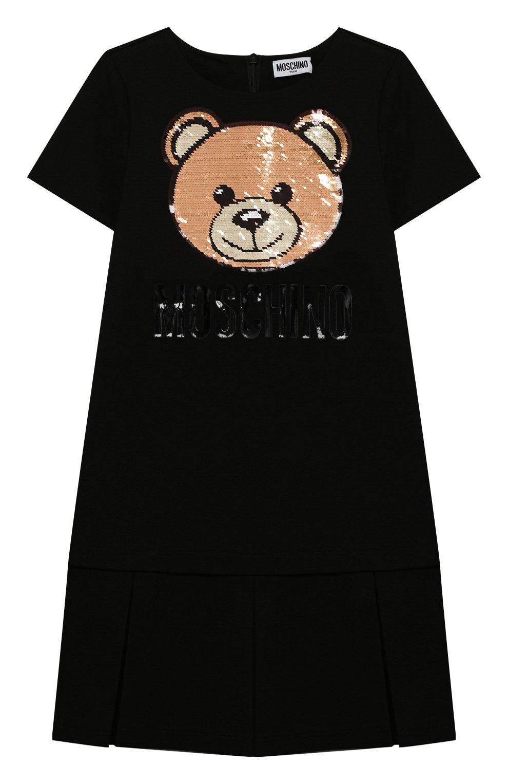 Детское платье MOSCHINO черного цвета, арт. HDV09H/LJA02/10A-14A | Фото 1 (Рукава: Короткие; Случай: Повседневный; Материал внешний: Вискоза; Девочки Кросс-КТ: Платье-одежда)