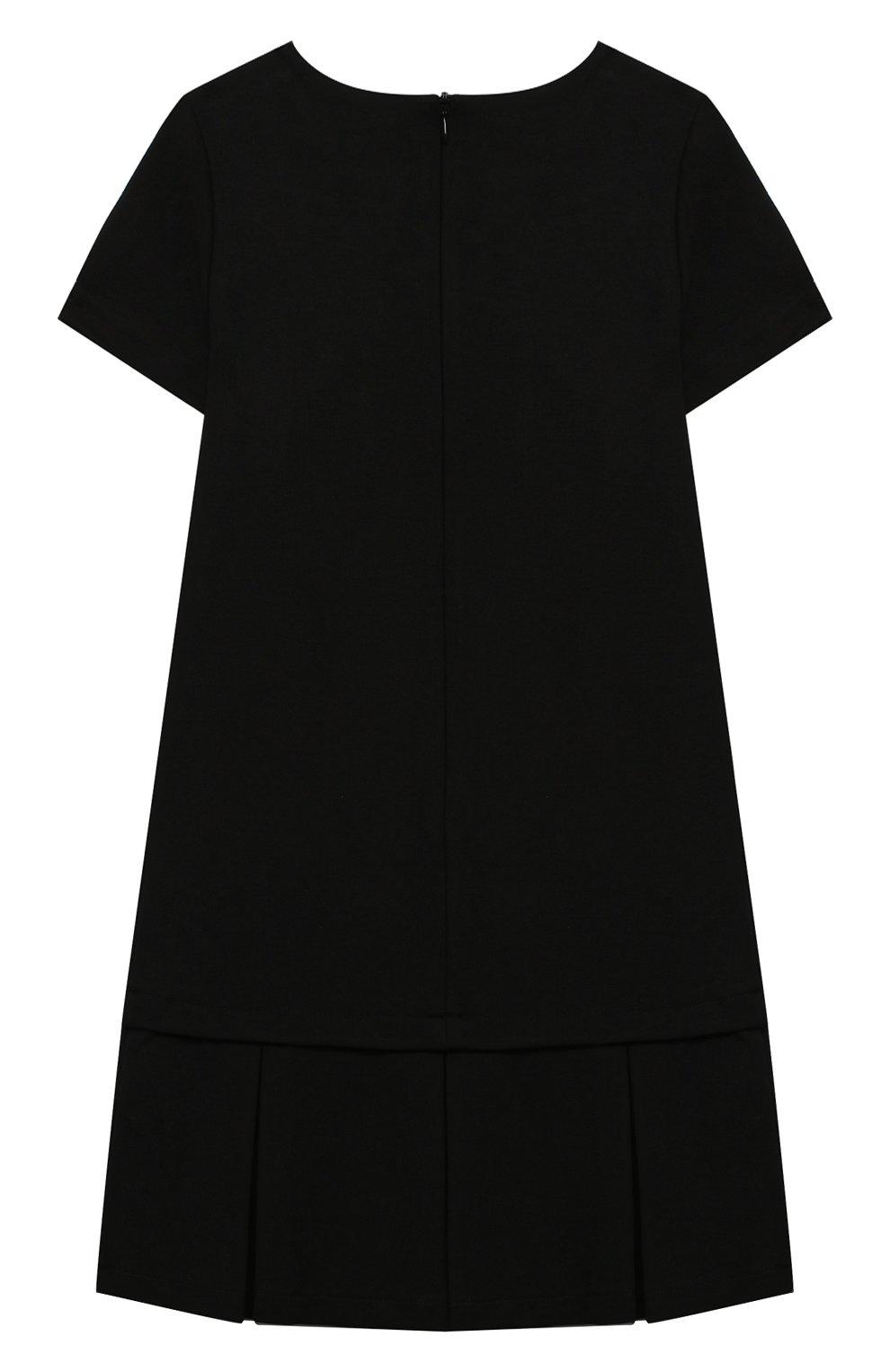 Детское платье MOSCHINO черного цвета, арт. HDV09H/LJA02/10A-14A | Фото 2 (Рукава: Короткие; Случай: Повседневный; Материал внешний: Вискоза; Девочки Кросс-КТ: Платье-одежда)