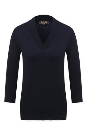 Женский кашемировый пуловер LORO PIANA темно-синего цвета, арт. FAL1998   Фото 1
