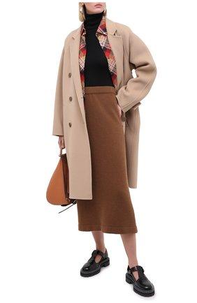 Женская юбка из шерсти и кашемира TAK.ORI коричневого цвета, арт. SKK50011WC030AW20 | Фото 2 (Материал внешний: Шерсть, Кашемир; Длина Ж (юбки, платья, шорты): Миди; Стили: Кэжуэл; Кросс-КТ: Трикотаж)