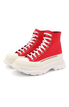 Женские текстильные ботинки ALEXANDER MCQUEEN бордового цвета, арт. 611706/W4N11 | Фото 1