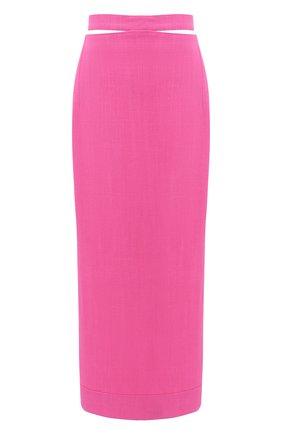 Женская юбка из вискозы и льна JACQUEMUS фуксия цвета, арт. 203SK01/124450 | Фото 1
