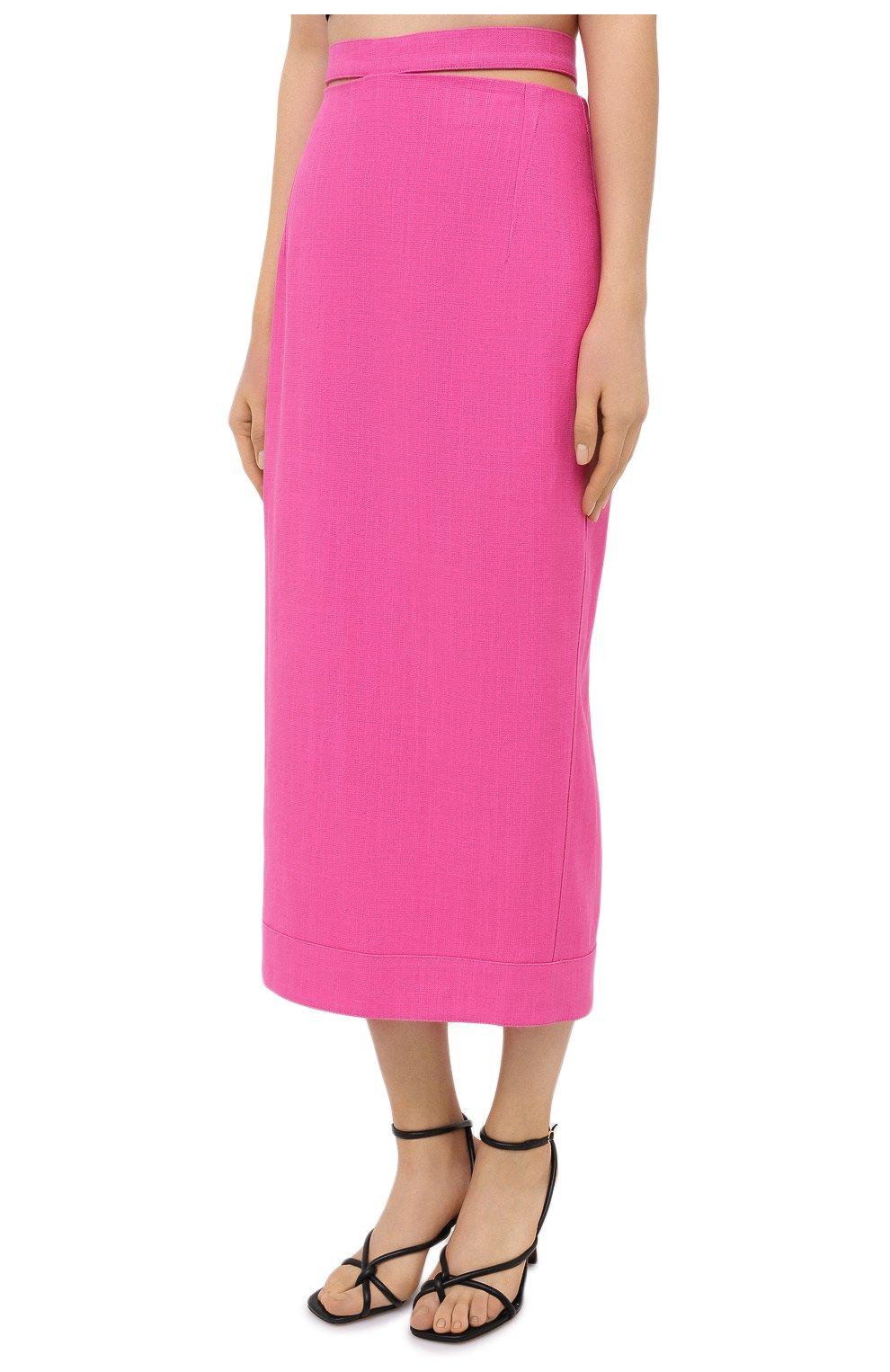 Женская юбка из вискозы и льна JACQUEMUS фуксия цвета, арт. 203SK01/124450 | Фото 3