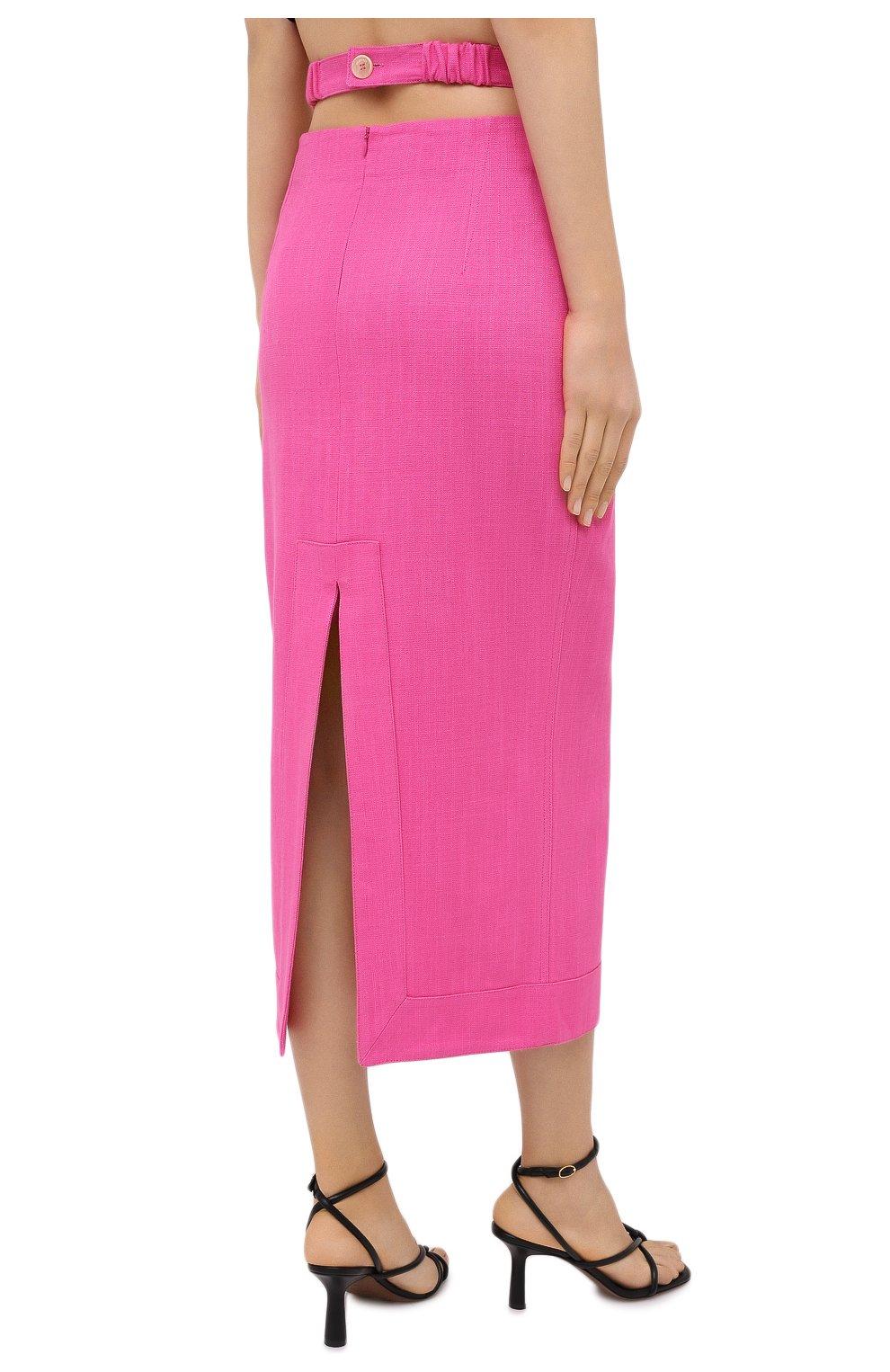 Женская юбка из вискозы и льна JACQUEMUS фуксия цвета, арт. 203SK01/124450 | Фото 4
