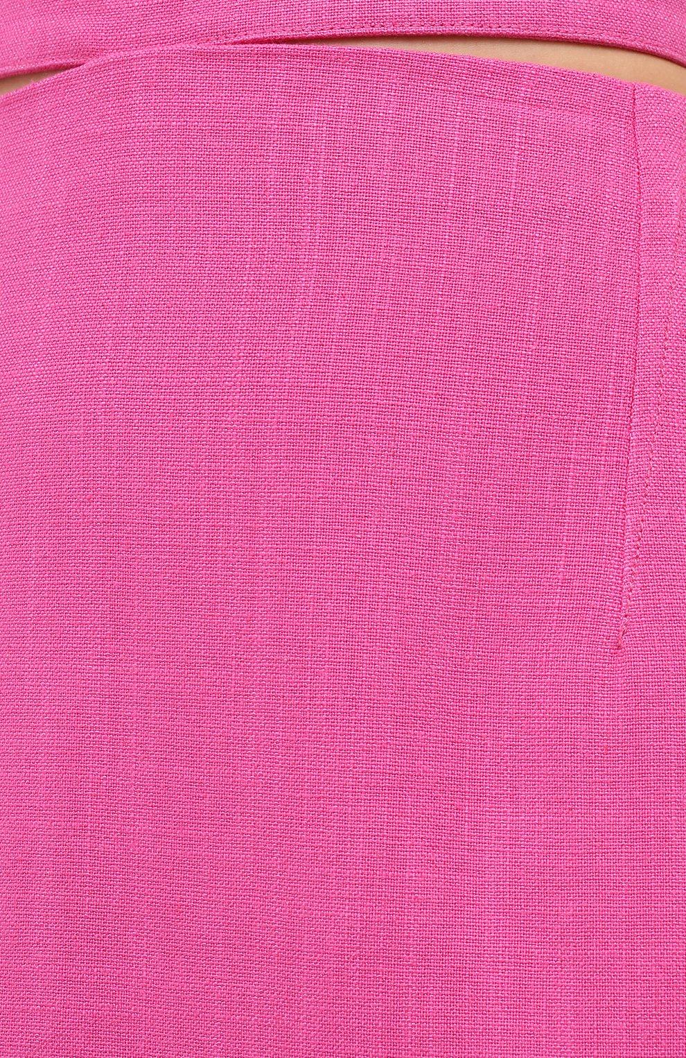 Женская юбка из вискозы и льна JACQUEMUS фуксия цвета, арт. 203SK01/124450 | Фото 5