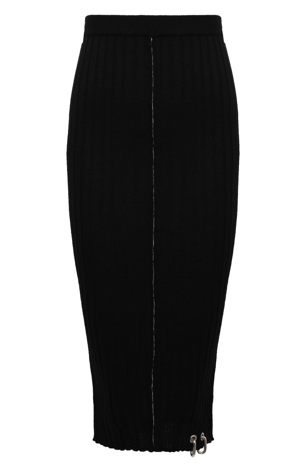 Женская шерстяная юбка ACT N1 черного цвета, арт. PFK2001 | Фото 1 (Материал внешний: Шерсть; Женское Кросс-КТ: Юбка-карандаш; Длина Ж (юбки, платья, шорты): Миди; Стили: Кэжуэл)