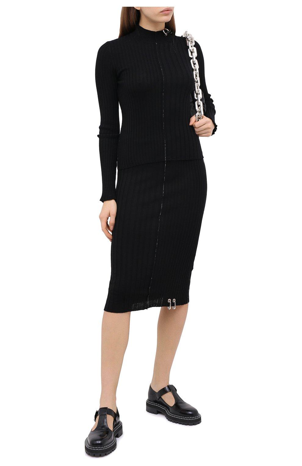Женская шерстяная юбка ACT N1 черного цвета, арт. PFK2001 | Фото 2 (Материал внешний: Шерсть; Женское Кросс-КТ: Юбка-карандаш; Длина Ж (юбки, платья, шорты): Миди; Стили: Кэжуэл)